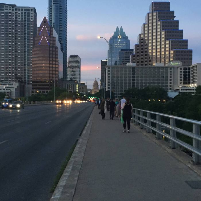 Austin at dusk. I snapped this photo while racing across Congress Bridge to avoid watching the bat colony below fly out. I failed. Bats are gross.